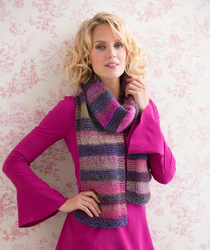 Striped Shaded Scarf Free Knitting Pattern From Red Heart Yarns