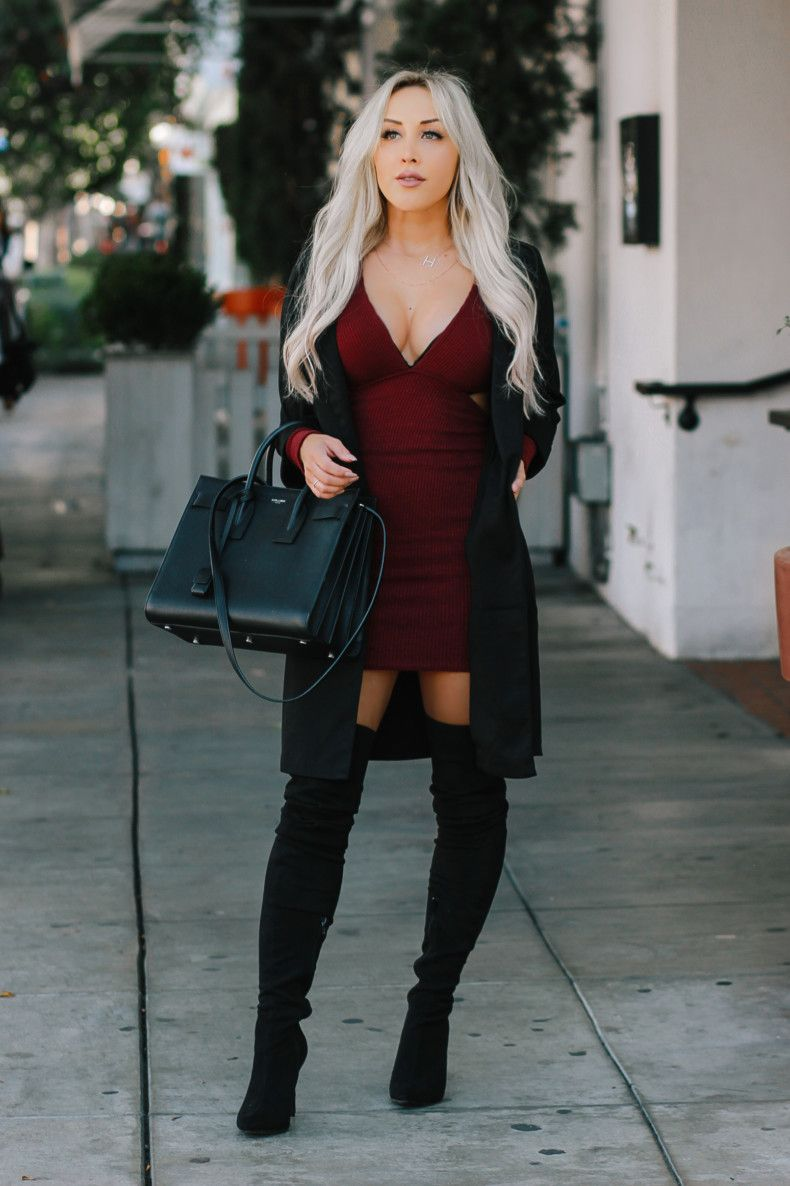 Bringing Out The Black Burgundy Thigh High Boots Outfit High Knee Boots Outfit Fashion [ 1186 x 790 Pixel ]