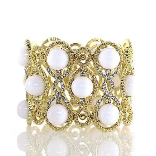 "Fashion Stretch Bracelet; 2.5""L; Gold Metal; Clear Rhinestones And White Pearl Cabochons; Eileen's Collection. $28.99"