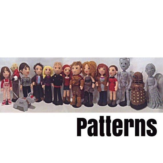 PDF Set of 15 Companions and Villains Doctors Who Time Travel Crochet Amigurumi #12doctor Please read the following information carefully! Patterns ONLY. No actual dolls will be sent! This listing is for a set of 15 crochet patterns to make Companions and Villains. The set includes the following patterns: -- Susan -- Sarah Jane -- robotic dog -- Creepy tentacle-faced #12doctor