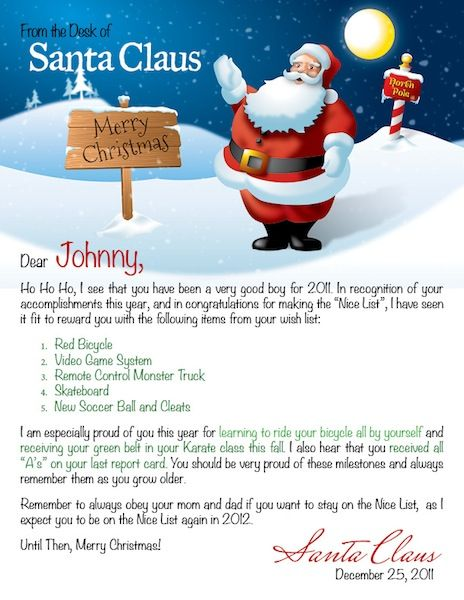 Free nice list certificate from santa christmas pinterest personalized letter from santa google search yadclub Images