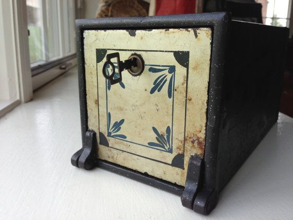 Paint Decorated Victorian Wall Safe And Key Antique Safety Deposit Box Orginal Surface Wall Safe Antique Safe Antiques