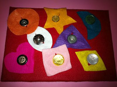 Felt Button Board - Fine Motor, Finger Strengthening, Dressing Skill, shapes, colors.