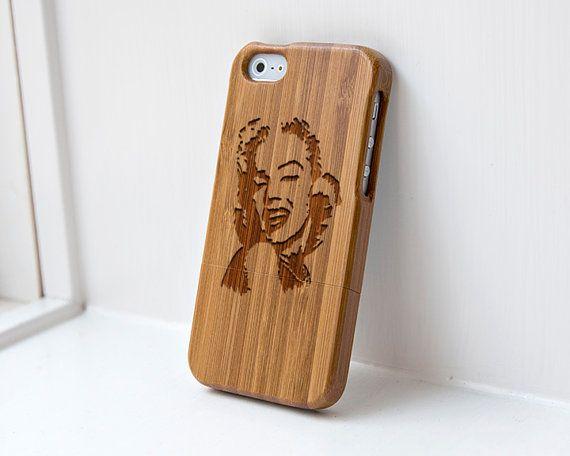 Custom iphone Bamboo case engraved Marilyn Monroe $34.99