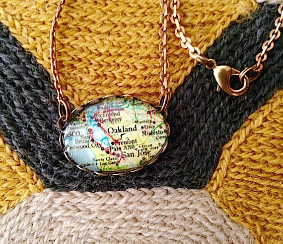 Oakland California Map Necklace  Oakland Oval Glass Map Necklace