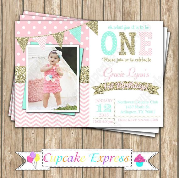 One First Birthday girl coral pink mint gold PRINTABLE chalkboard – Polka Dot First Birthday Invitations