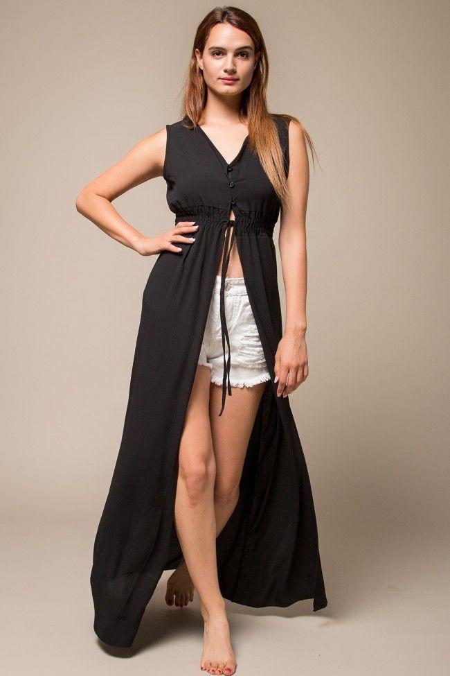 Black Maxi Kimono Μαύρο μακρύ κιμόνο με κουμπιά στο πάνω μέρος. Άνετη  γραμμή d62d871bf7a