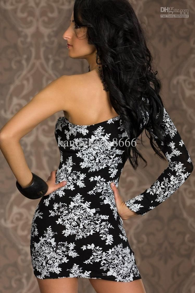 Women sexy black red flower print one shoulder long sleeve sheath
