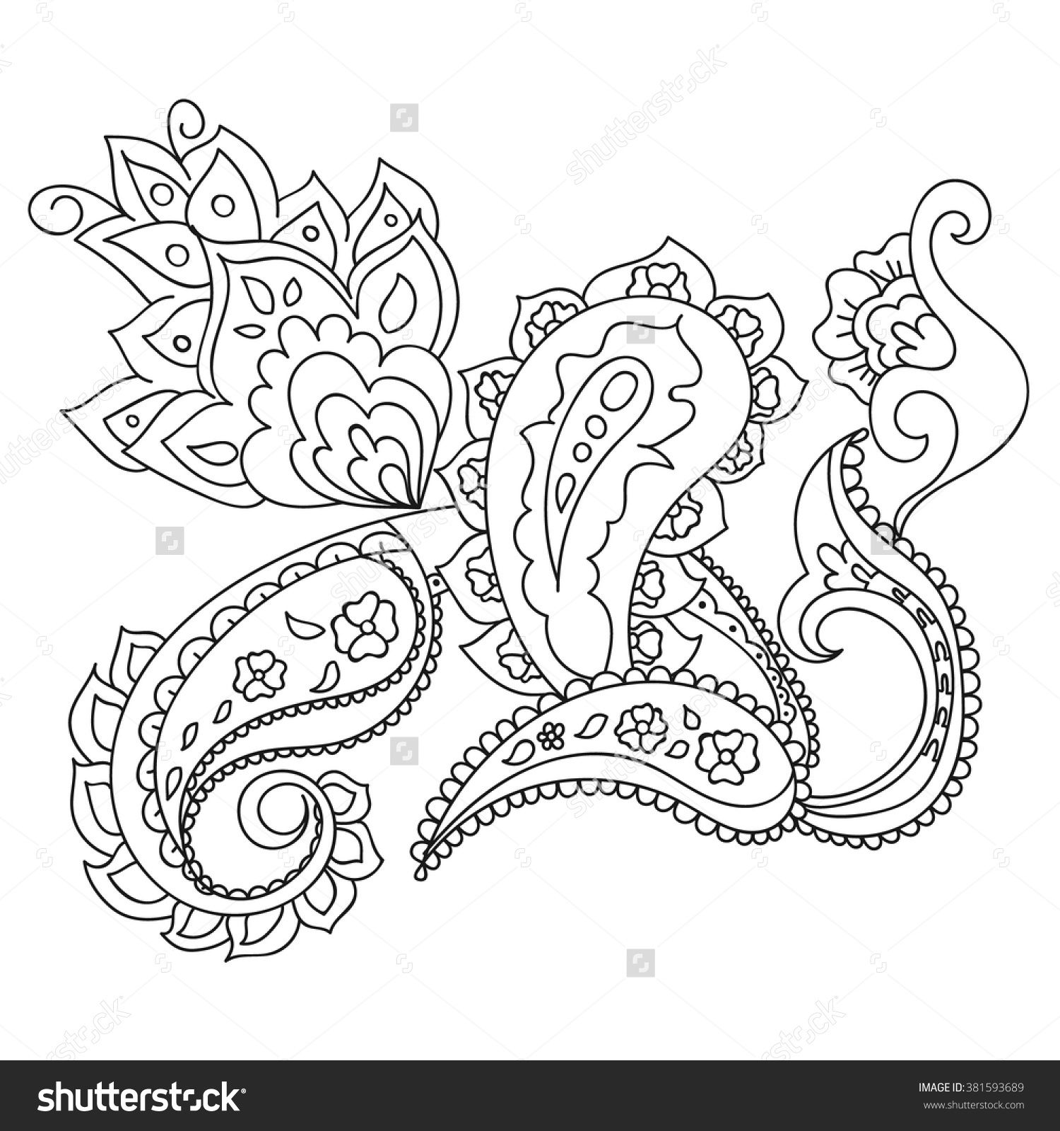 Black And White Hand Drawn Line Art Ornamental Ethnic Flowers Design Adult Coloring Book Interior