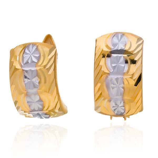 Brincos de Ouro 21K com Ouro Branco Alshahba