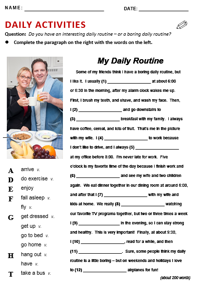 Everyday life routine essay in english