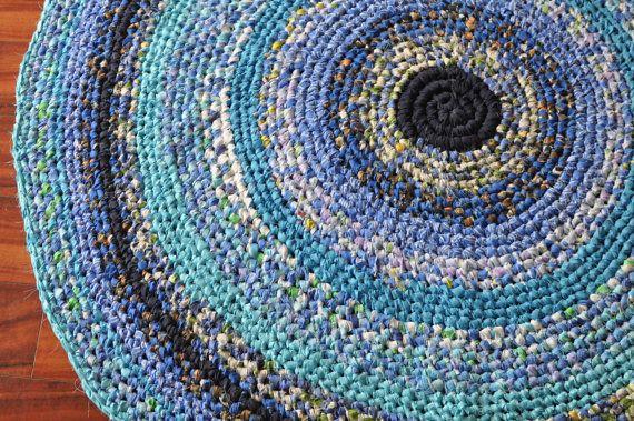 52 Large Handmade Crochet Rag Rug In Shades Of Blue I Really Love The Mosaic Effect Crochet Rag Rug Rag Rug Rugs