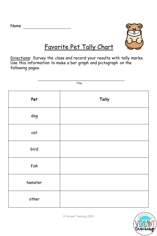Tally Chart Worksheet Favorite Pet Bar Graphs Student Survey Elementary Math [ 1440 x 960 Pixel ]
