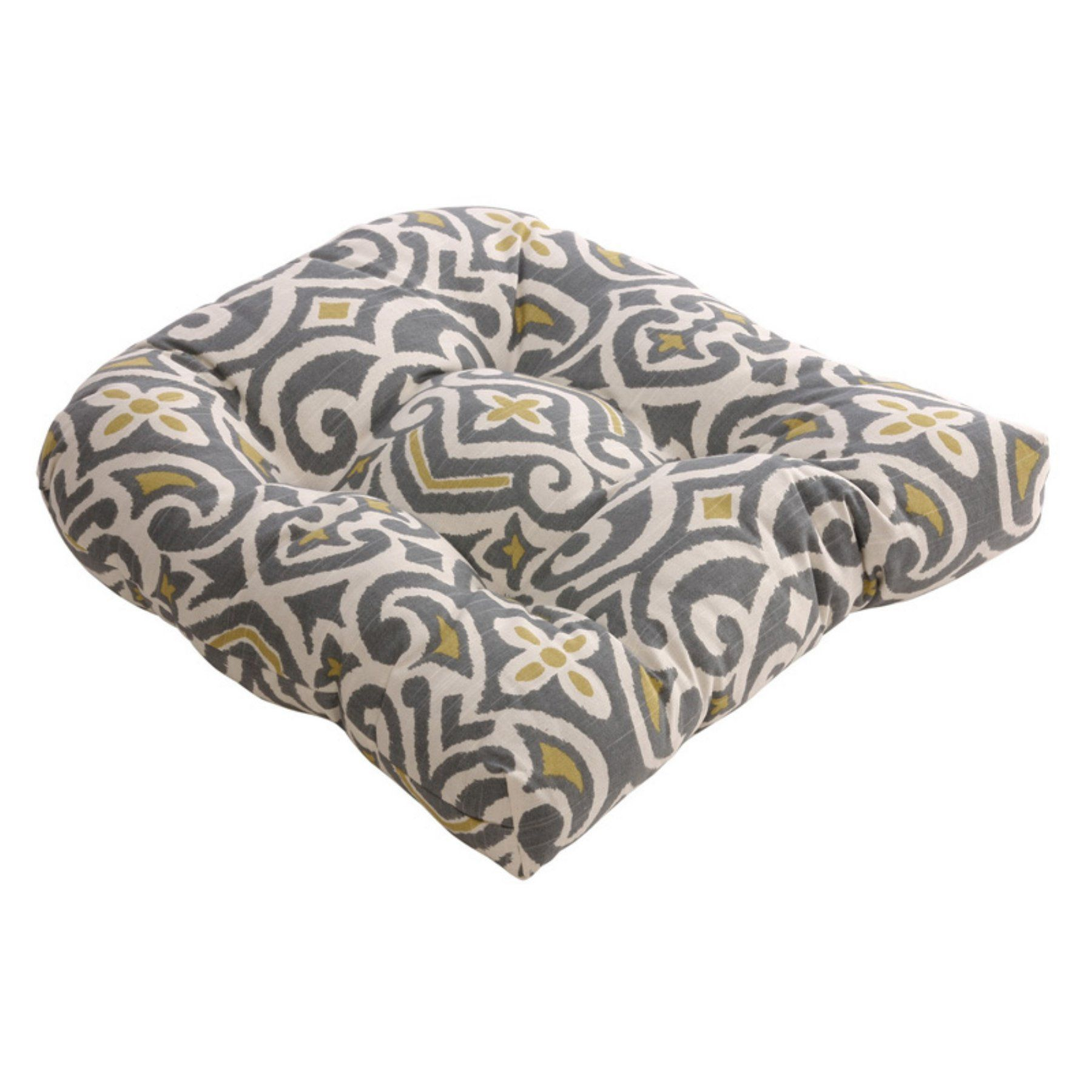Pillow Perfect Gray And Greenish Yellow Damask 19 X 19 In Chair