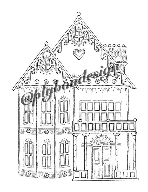 Gingerbread House Coloring Page Digital Download Products Rhpinterestcokr: House Design Coloring Pages At Baymontmadison.com
