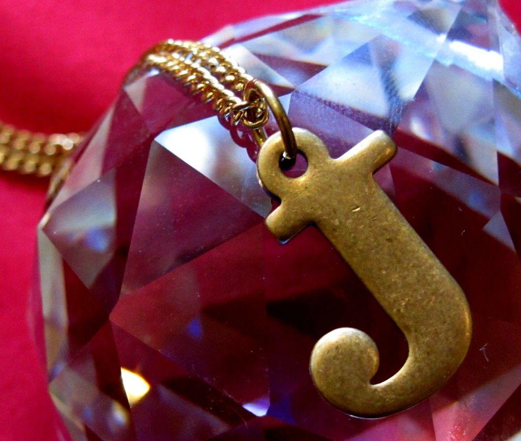 Vintage Brass J Initial Letter Necklace. $16.00, via Etsy.