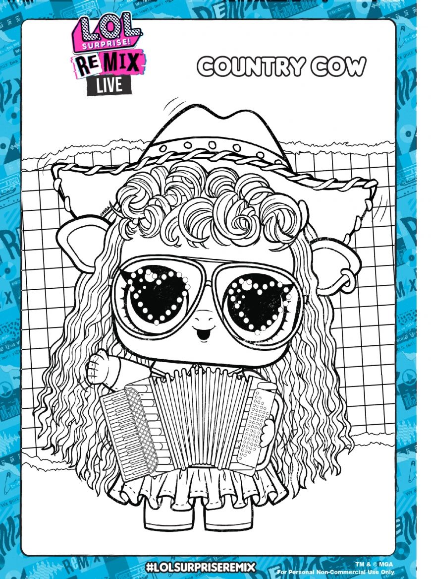 Lol Surprise Remix Coloring Pages And Activity Pages Youloveit Com Cow Coloring Pages Coloring Pages Lol Dolls