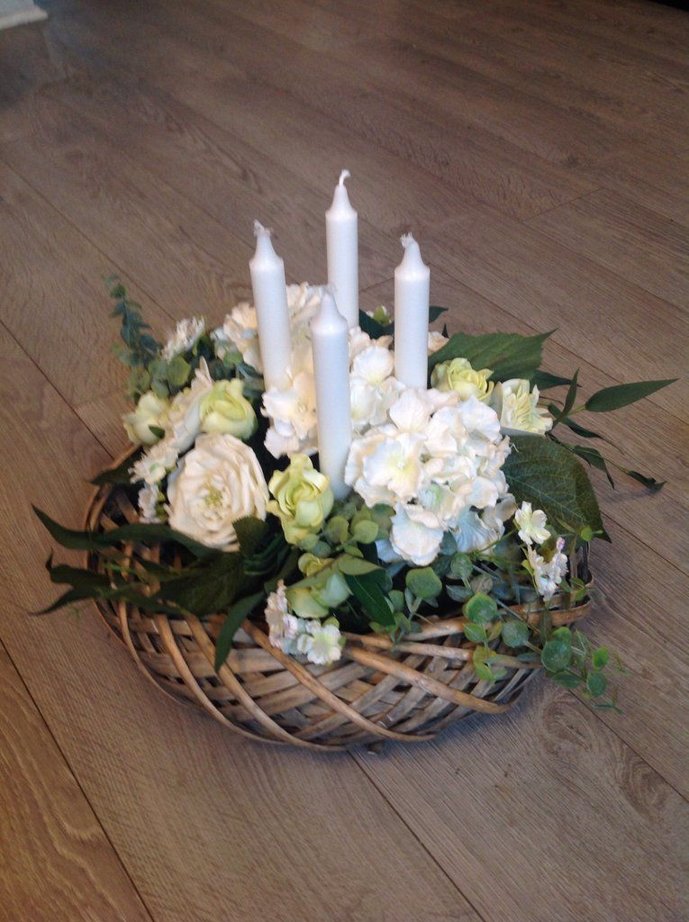 Table Centrepiece Artificial Flower Arrangement With Four Candles Ivory Flowers Green Foliage Diameter 37 Cm Height 30