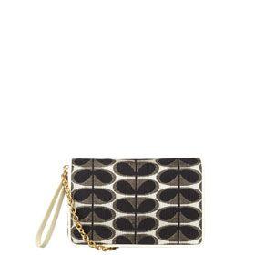 Gold Oval Stem Jacquard Clutch Bag From Irish Designer Orla Kiely