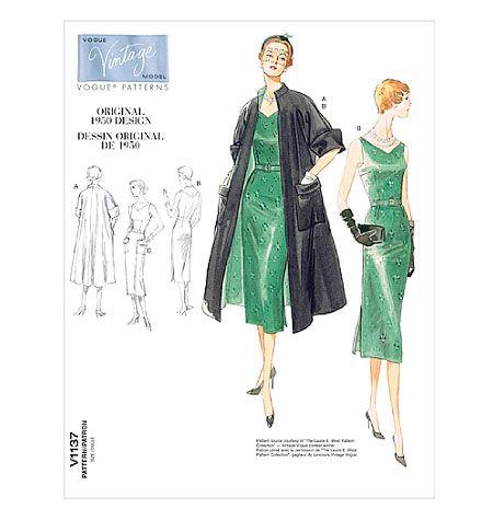 V1137, Misses' Coat, Dress and Belt