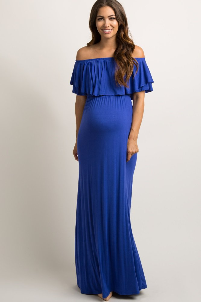 485ed73193b4f Royal Blue Off Shoulder Ruffle Trim Maxi Dress An off shoulder maternity  maxi dress featuring a solid hue, cinched elastic neckline and waistline,  ...