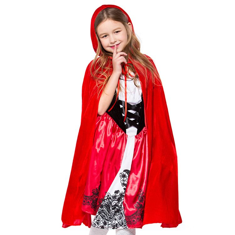 Kids Girls Red Hooded Cloak Cape Halloween Cosplay Party Costume Dress Up
