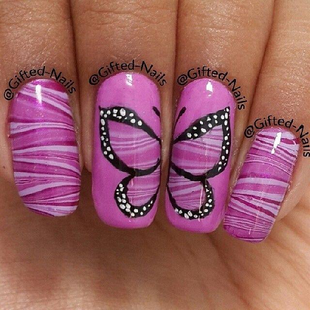purple butterfly on purple marble base by seizethenail