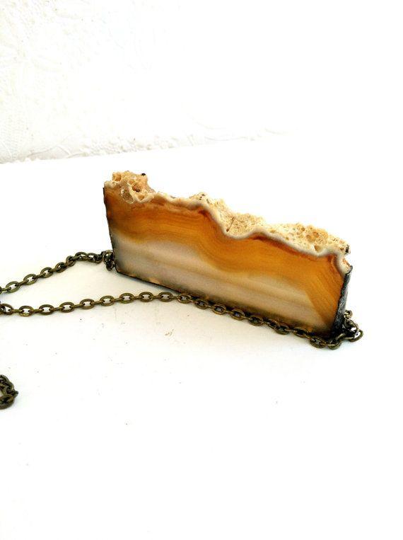 Brown Geode Druzy Pendant Sliced Geode Necklace Brown by Mystarrrs