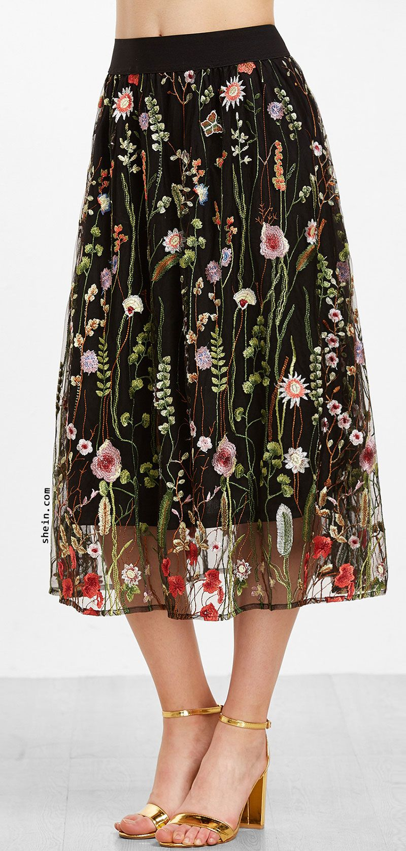 a8bb44c197 Floral Embroidered Mesh Overlay Tea Length Skirt | Pinss! | Fashion ...