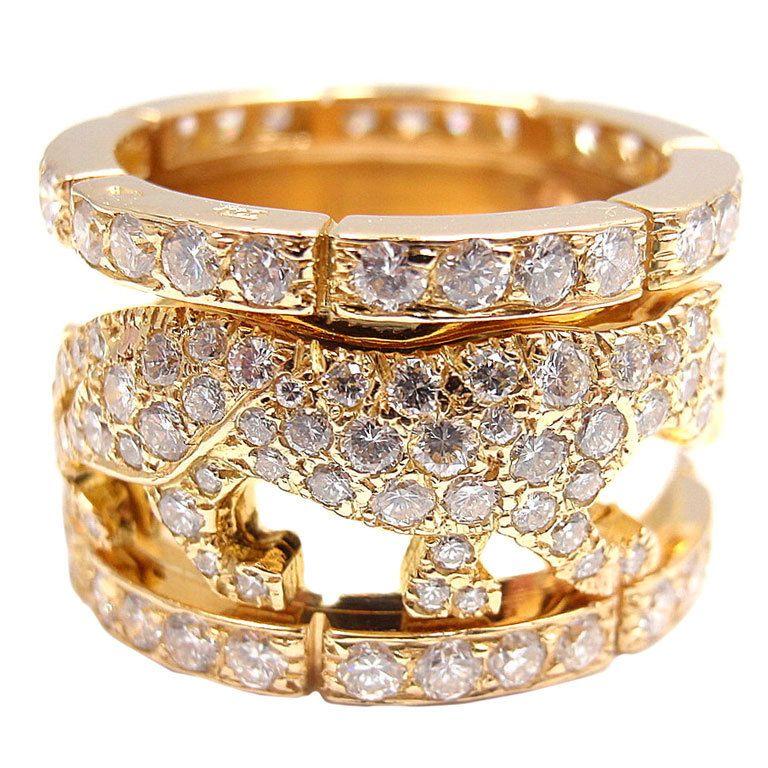 """CARTIER """"Walking Panther""""  Diamond Yellow Gold Ring"""