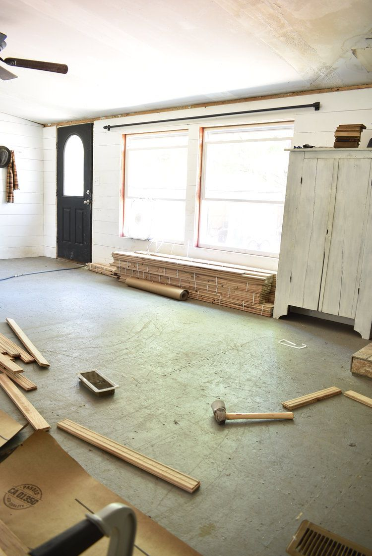 Rustic Black Painted Hardwood Floors