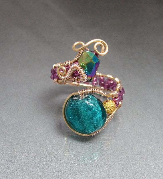 Turquoise Wire Wrapped Spring Bead Ring ♥ by studiodct on Etsy