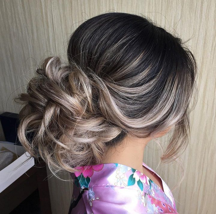 Messy Updo Hairstyles Simple Swept Back Messy Updo Bridal Hairstyle  Simple Wedding Hairstyles