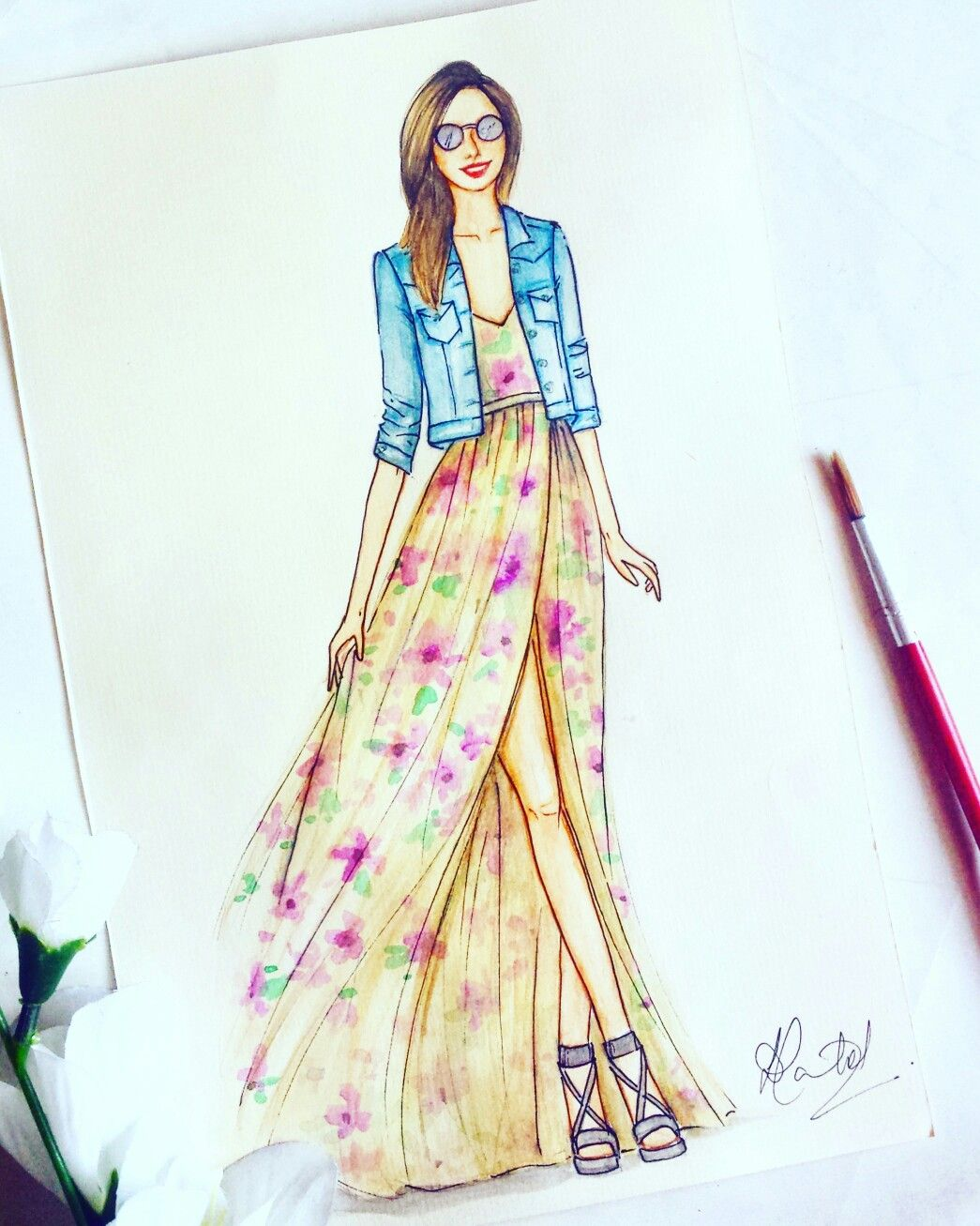 fashion illustration maxi dress fashion sketchbook