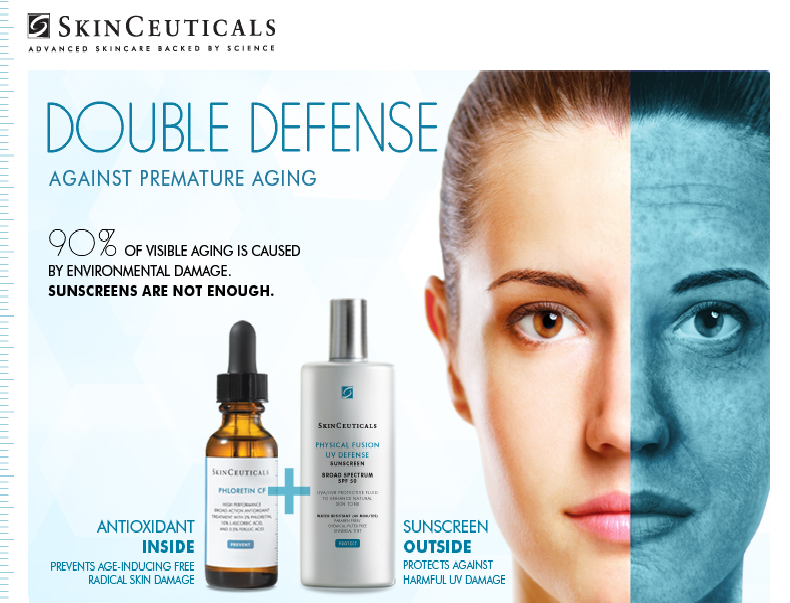 Skin Ceuticals DOUBLE DEFENSE AGAINST PREMATURE AGING Call to get yours today 904.399.4555