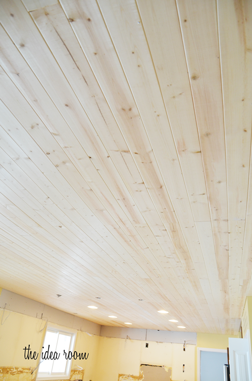 How to diy a wood plank ceiling plank ceiling the end for Wood trim ceiling ideas