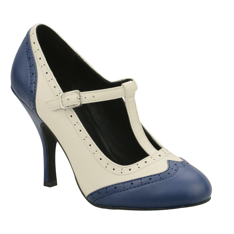 0b1d764dbd0 TUK Bombshell Womens Vintage 50s Navy Rockabilly Wingtip Mary Jane Shoes