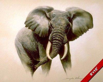 WILD AFRICAN ELEPHANT ANIMAL PAINTING AFRICA ART REAL CANVAS PRINT