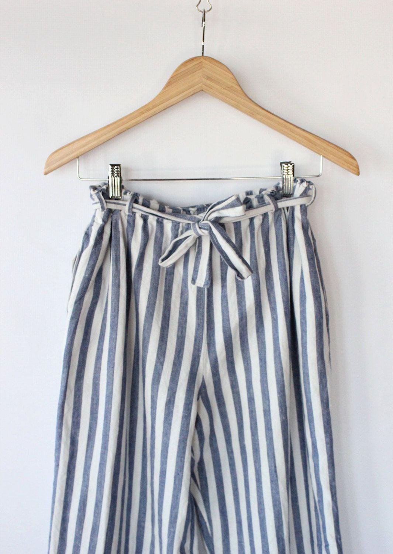 564031eb533e Vintage 80s Blue & White Striped Linen Paper Bag Pants // Wide Leg Spring  Trousers. $58.00, via Etsy.
