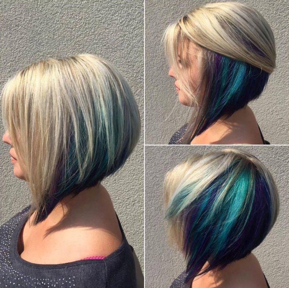 Hidden Rainbow Bob Hair Color Short Hair Color Underlights Hair