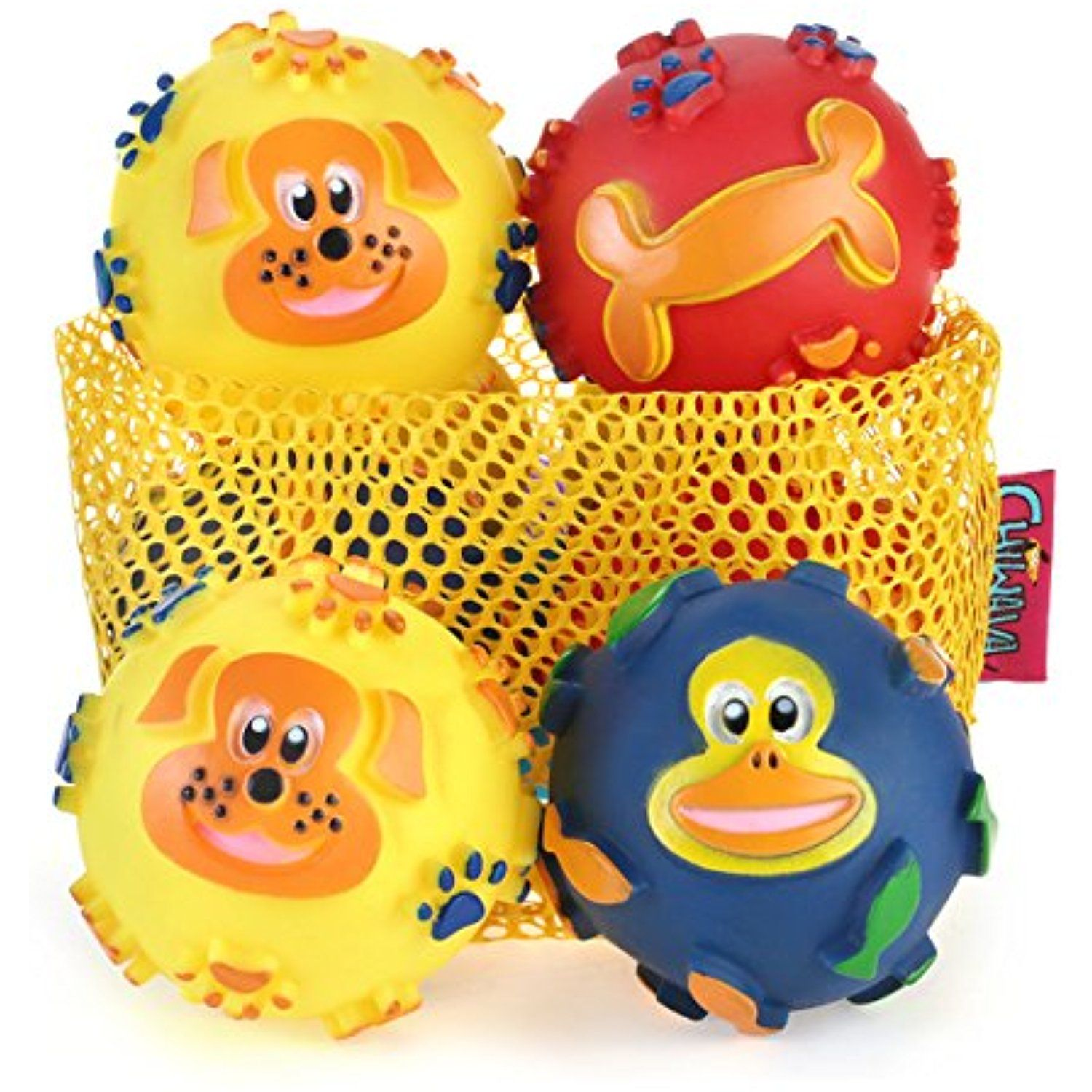 Chiwava 3pcs 3 1 Squeak Vinyl Dog Toys Balls With Lovely Pattern