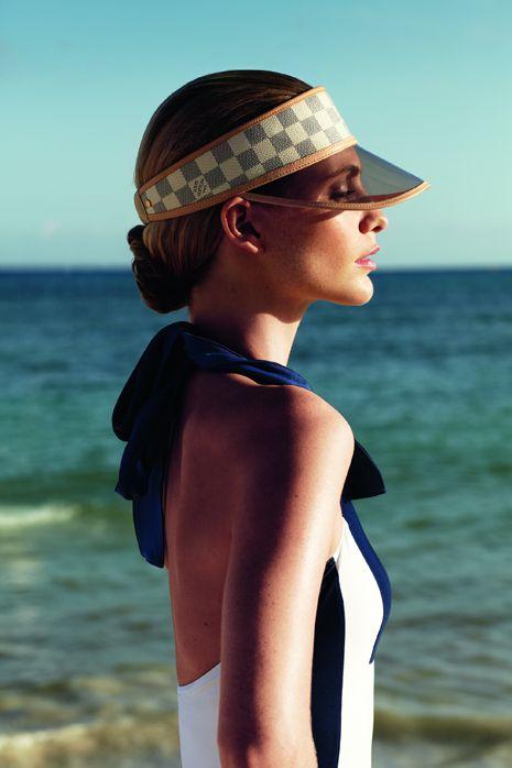 Louis Vuitton Sun Visor Damier Azur...hello summer!!   Stuff I love ... 0fc5b932d2e
