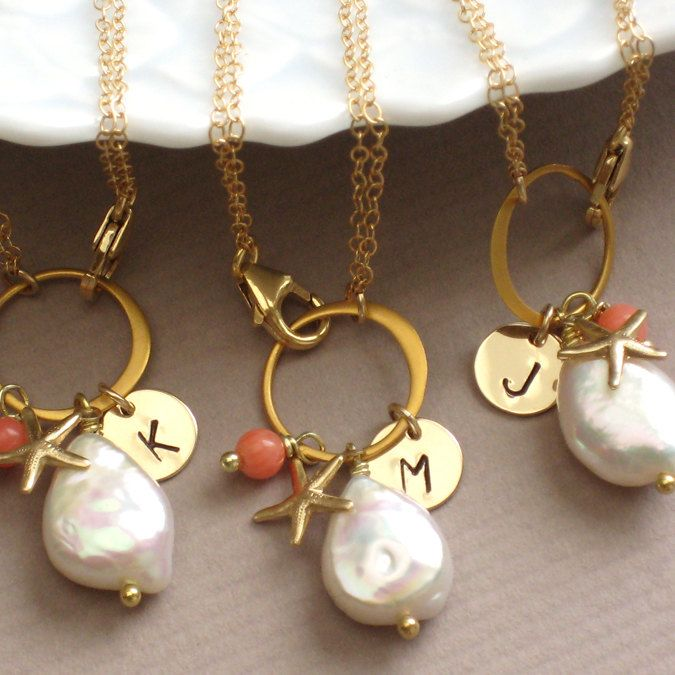 Bridesmaid Jewelry Gift Set 3 Beach Bracelets White Coin Pearl