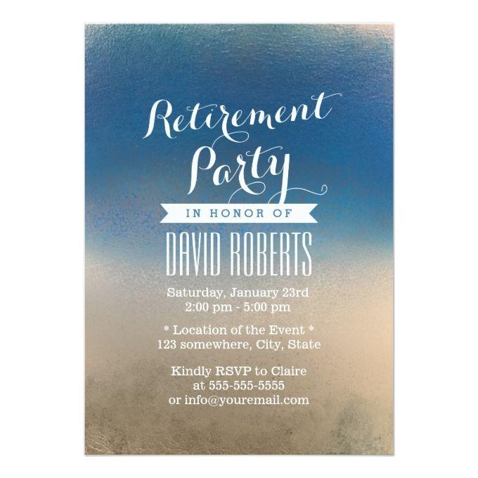 Stylish Blue  White Winter Retirement Party Invitation Retirement
