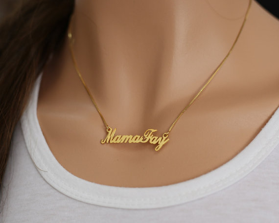 4b291fd8b5ef7 Gold Custom Name Necklace, Cut Out Nameplate Necklace, Personalized ...
