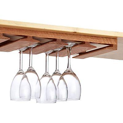 Stemware Rack Wine Glass Shelf, Under Cabinet Wine Glass Holder Wood
