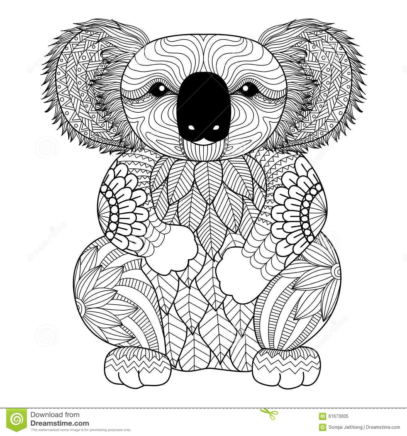 Drawing Zentangle Koala For Coloring Page Shirt Design Effect