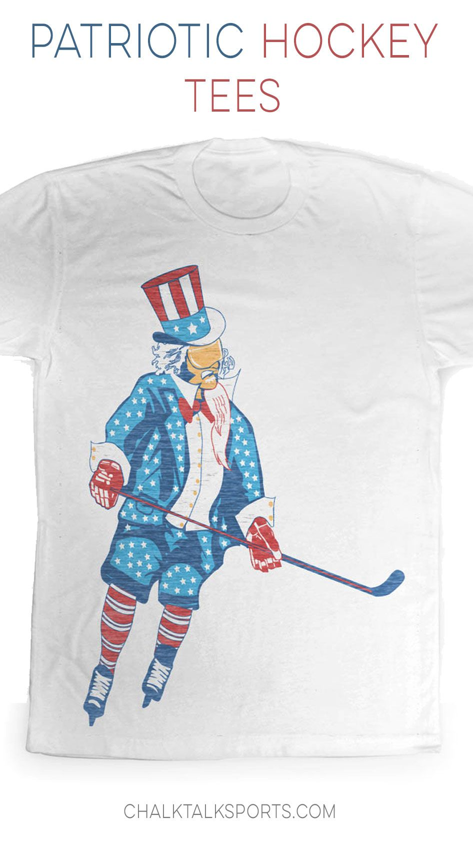 Uncle Sam Hockey Tee is perfect for the Fourth Of July or