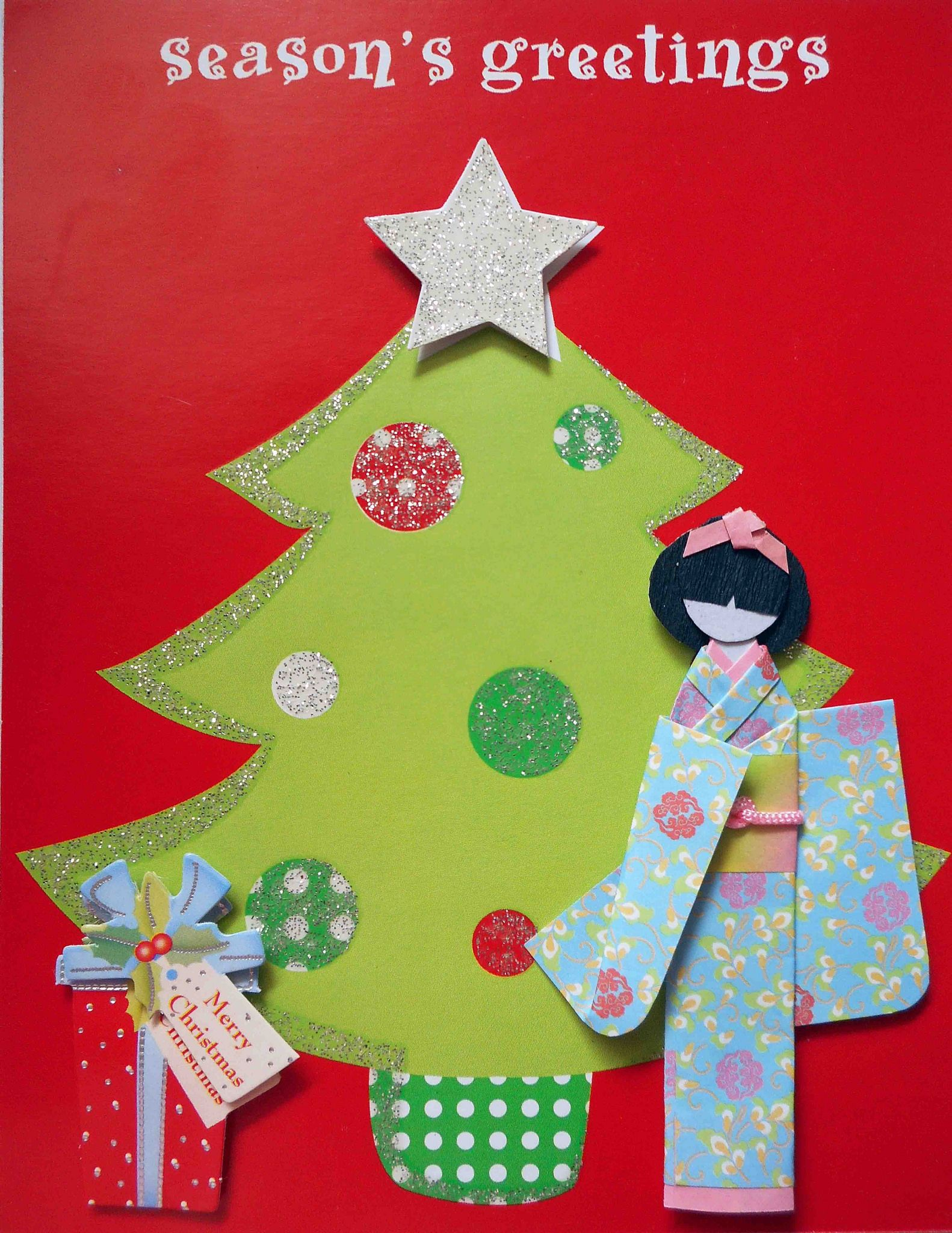 Japanese christmas greetings image collections greetings card recycled christmas card with japanese paper doll japanese origami m4hsunfo