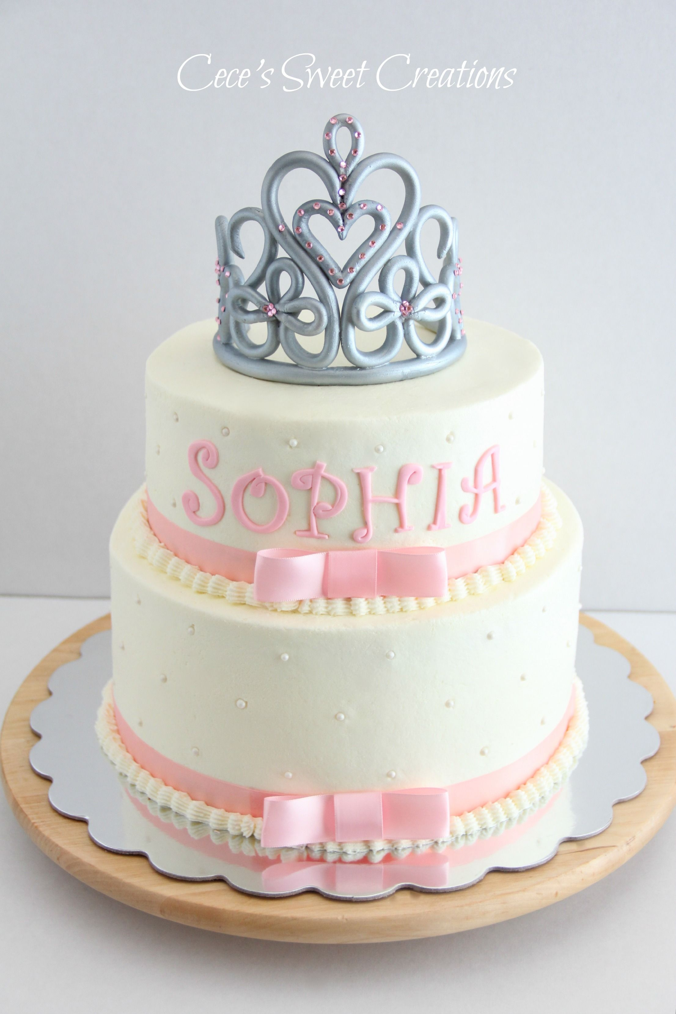 Princess Baby Shower Cake - 2 tier Buttercream Princess Baby Shower cake.  Tiara was freestyle and made from MMF and Gum paste. Thank you for looking  <3